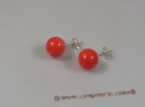 ce017 sterling 9mm round pink coral studs earrings