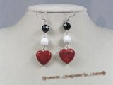 ce022 sterling silver heart shape red coral dangle earrings