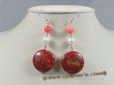 ce024 sterling silver coin shape red coral dangle earrings