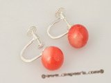 ce029 Pink round coral sterling silver clip screwback earrings on sale
