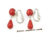 ce031 sterling 8mm round red coral clip earrings