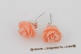 ce038 7-8mm crave flower pink coral sterling silver studs earrings