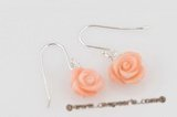 ce039 sterling silver dangle earring with 7-8mm crave flower pink coral