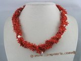 cn006 four strands red branch coral beads twisted necklace