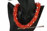 cn007 four strands saffron yellow branch coral beads twisted necklace
