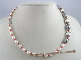 cn026 Rice shape cultured pearl &coral beads single necklace in wholesale