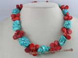 cn031 Green nugget turquoise alternated with fanlike coral necklace