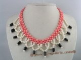 cn076 Hand Knitted round coral beads wedding necklace