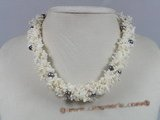 cn092 four strands white branch coral beads twisted necklace with black pearl