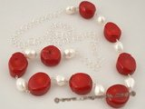 cn116 Jumbo oval red colral and baroque shell pearl sterling silver necklace