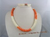 cnset001 Hand knotten 6mm round Coral beads necklace/bracelet sets