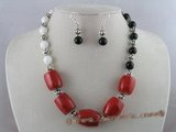 cnset011 Black Onyx & Deep sea tridacna coral Necklace & dangling earrings set