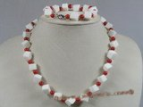 cnset021 Square sponge coral with 6mm red coral necklace set--summer collection