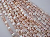 coin026 wholesale 8-9mm freshawater coin pearl strands in pink color