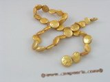 coin_04 12mm yellow cultured coin shape freshwater pearl strands
