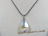 CP017  34*38mm tear-drop faceted Swarovski crystal pendant with sterling enhancer mounting
