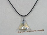 CP018 25mm triangular faceted Swarovski crystal pendant with sterling enhancer mounting