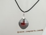 CP021 Wine red faceted round Swarovski crystal 925silver enhancer pendant