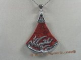 cpd003 50*70mm fanlike red coral Pendant with 18KGP tray