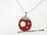 cpd005 wholesale 40mm round shape red coral Pendant