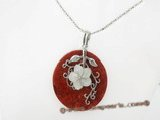 cpd006 Hand wrapped 50mm round red coral pendant in wholesale