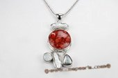 Cpd012 Hand Wrapped Biwa Pearl and Red Coral Pendant Necklace