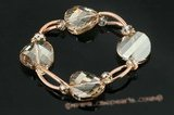 Crbr021 Baroque Austria Crystal and Pipe Stretchy Bracelet