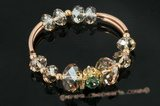Crbr022 Gold tone 925silver pipe& roundel Austria Crystal Bangle