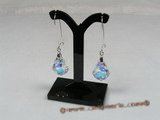 cre009 Sterling tear-drop Austrian Crystal arched wire dangle earrings