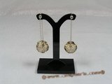cre013 Sterling round faceted Austrian Crystal Swing Drop studs earrings