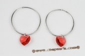 Cre020 Sterling Silver Ruby Red Austrian Crystal Hoop Earrings