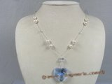 crn022 Delicate heart -shape Austria crystal necklace in sterling chain
