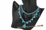 crn031 Hand wired turquoisel and crystal long rolo cord necklace