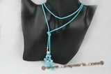 crn040 Blue pearl, turquoise and crystal cord long lariat necklace