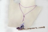 crn043 Purple jade and amethyst long lariat cord necklace