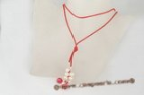 crn044 Red freshwater pearl and red jade cord long lariat necklace
