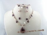 CRNSET003 Purple crystal necklace earrings set with pink seed pearls