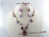 CRNSET007 wine red crystal bridal jewelry set with mother of pearl  and seed pearl