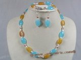 crnset009 Oval Gemstone and rice shape pearl necklace bracelet&earrings