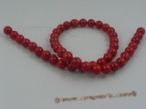 "cs011 8mm round red coral beads strands wholesale, 16""in length"