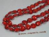 cs017 12mm coin shape red coral beads strands wholesale