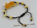 gbr020 Fancy brown cord yellow jade adjustable bracelet in wholesale