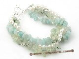 gbr027 Elegant chip gemstone beads and clutured pearl twisted bracelet on sale