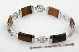 gbr034 Silver plated stunning tiger eye&#39s Chinese Link Bracelet