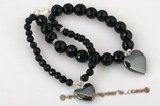 gbr036 Elegant black faceted agate bracelet with heart charm