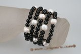 gbr039 five row  stretch 8mm black glass bead and 11-12mm white potato pearl bracelet