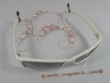 GCH006 Elegant rice shape pearl& crystal Beaded Eyeglass holders