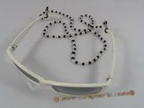 GCH008 wholesale Fashion black faceted crystal & glass beads Eyeglass holders