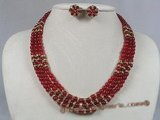 gnset002 6mm round red jade triple strands rope necklace earrings set