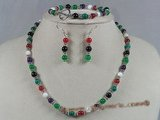 gnset006 multicolor gemstone and jade beads beach necklace set